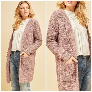 Sweaters - ASHLIE MAUVE Super SOFT Faux shearling cardigan